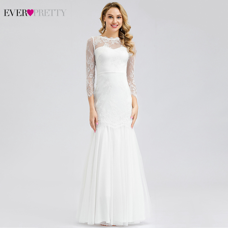Ever Pretty Elegant White Evening Dresses O-Neck Mermaid Illusion Party Gowns Sexy Long Formal Dresses Abiye Gece Elbisesi 2019