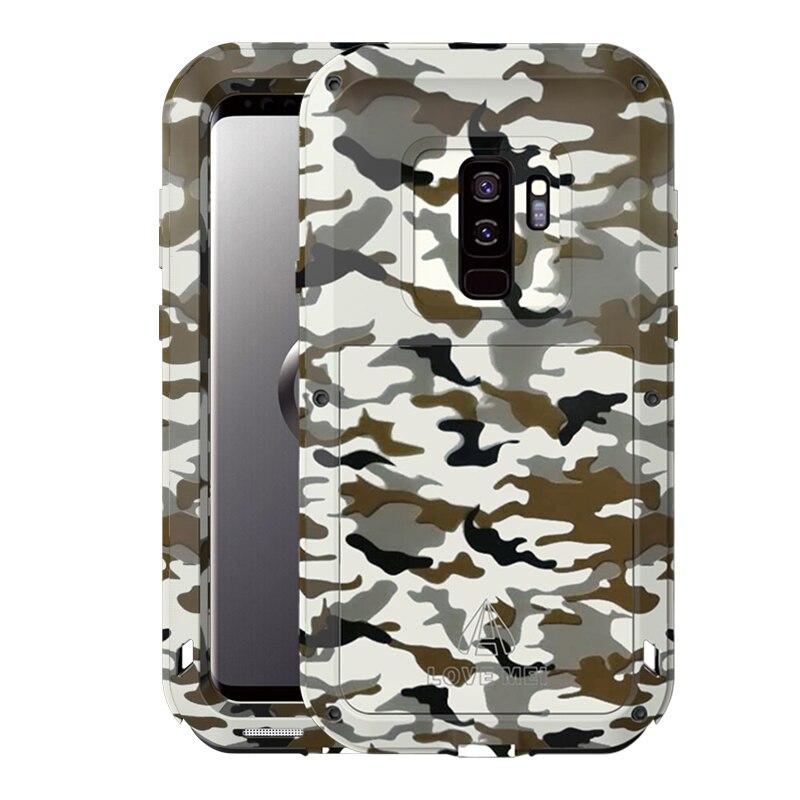 Étui pour Samsung Galaxy S9 S8 Plus en métal Camouflage LOVE MEI couvercle d'armure en aluminium pour Samsung A320 A520 puissant antichoc Capa
