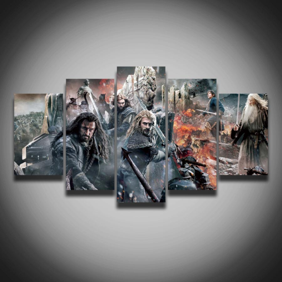 Printed cool movie posters The Hobbit picture painting on canvas 5 panels wall decor for children living room home Canvas art