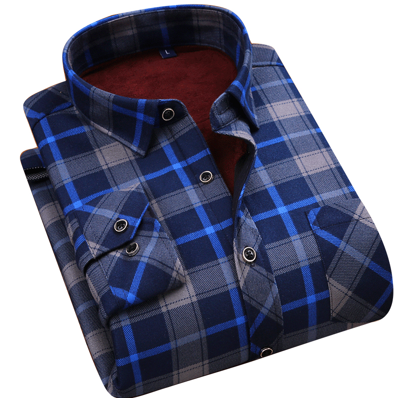 2018 hot winter casual shirt warm long sleeve plaid shirts thick velvet mens brand quality dress shirts male slim fit more color