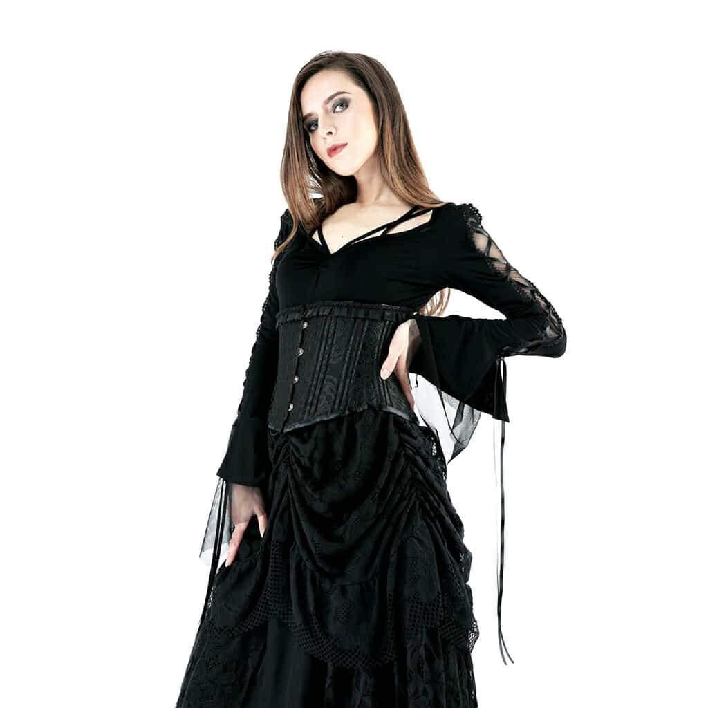 Darkinlove femmes chemises gothiques noir à bretelles détail cou court Goth Top à manches longues chemise femmes