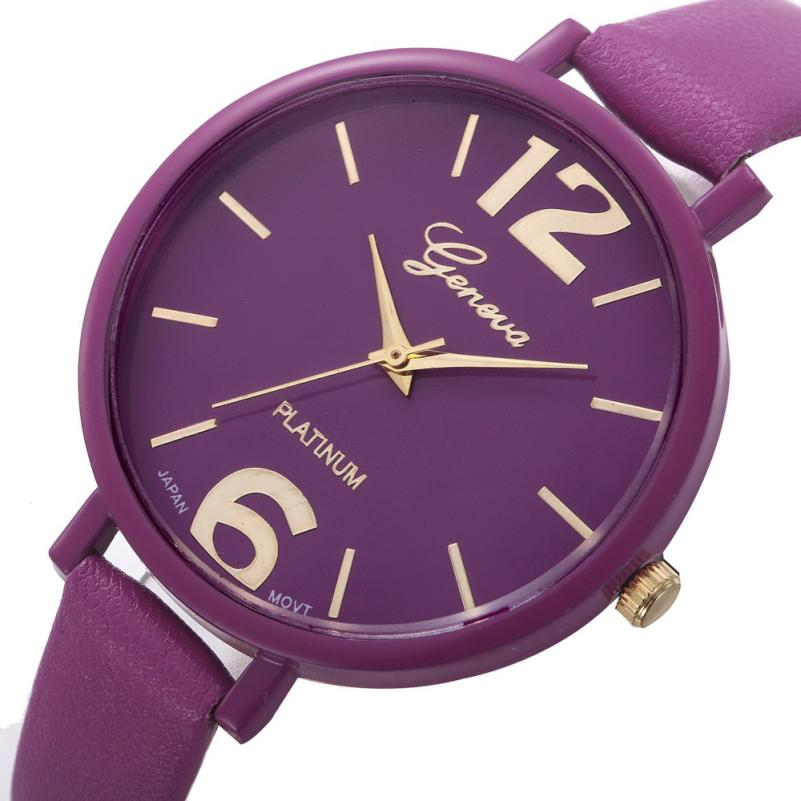 10 Colors Women Bracelet font b Watch b font Geneva Famous brand Ladies Faux Leather Analog