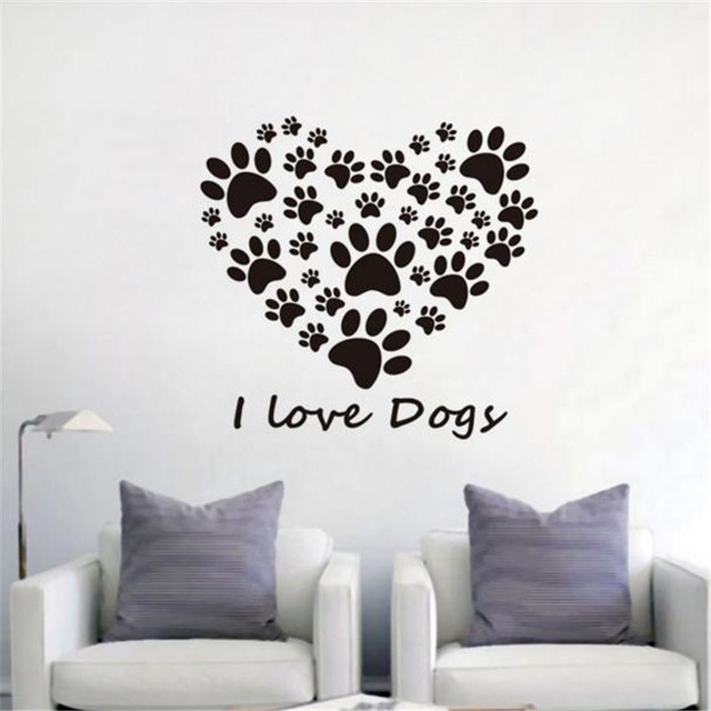 Dog paws prints heart vinyl wall sticker creative kids room wall decals i love dog art