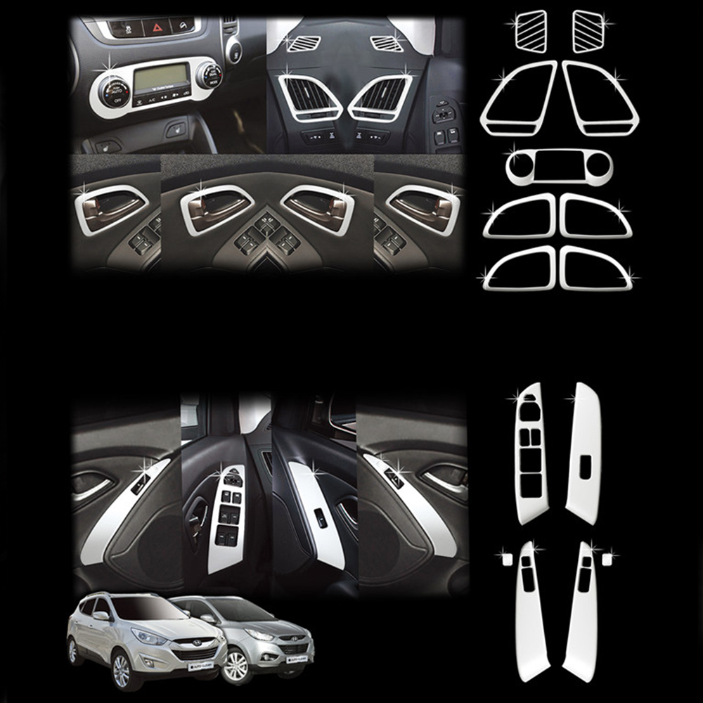 For Hyundai Tucson IX35 2010 2011 2012 Carbon Fiber Car Interior Trim Inner Molding Decoration Trim Car Accessories 13PCS for hyundai ix35 tucson 2010 2011 2012 auto front