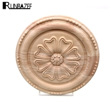 RUNBAZEF Wood Carving Circular Appliques for Furniture Cabinet Unpainted Wooden Mouldings Decal Home Decor Decorative Figurine