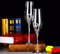 NEW 2pcs/Set 200ML Long Wedding Champagne Wine Glasses Crystal Silver Plated Toasting Flutes Cup for Party Decoration SN1850