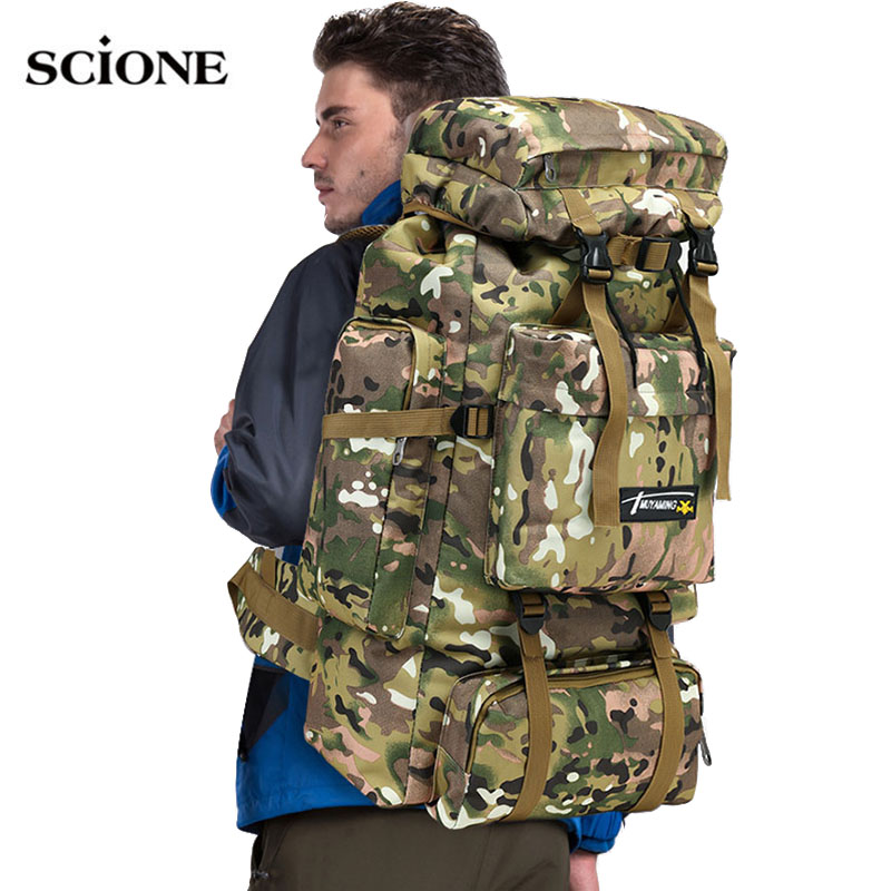 70L Tactical Bag Military Backpack Mountaineering Men Travel Outdoor Sport Bags Molle Backpacks Hunting Camping Rucksack XA583WA 70l internal metal frame molle backpack rucksack water resistant bags 600d camouflage men long distance travel backpack t0071