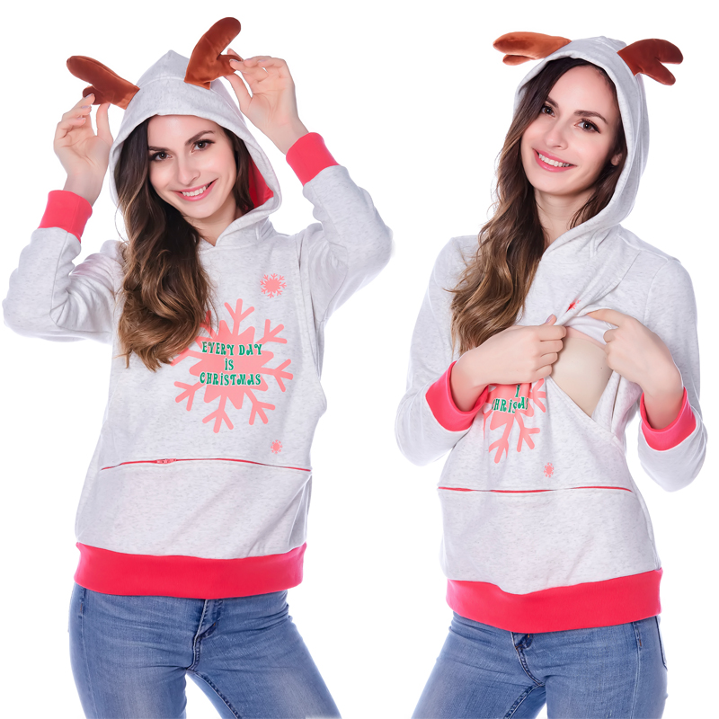 ФОТО Bearsland Women's Maternity Hoodie Breastfeeding Christmas Nursing Top/Shirt