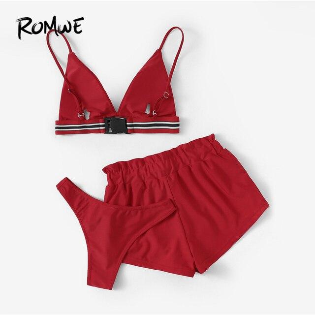 Romwe спорт красный комплект из 3 предметов пакет бикини комплект полосатой отделкой Треугольники бюстгальтер с трусиками и Пляжные шорты Для... 1