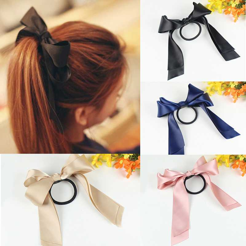 Fashion 1Pc Hair Accessories Hair Band Sweet Large Ribbon Bow Hair Ring Hair Rope Wholesale 9 Colors