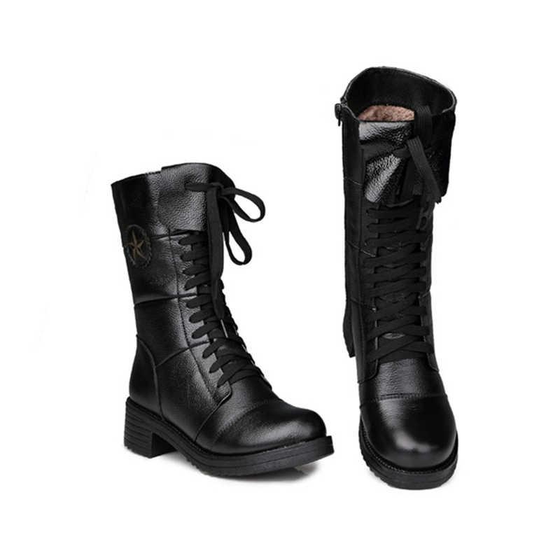 סתיו חורף 2019 אנגליה סגנון נשים עור נעלי עור אמיתי מרטין אתחול נעלי נשים שרוך אמצע שוק