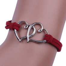 Fashion 1 Pc *Women Lady Girl Trendy Cute Love Heart Handmade Double Elastic Bracelet Gift