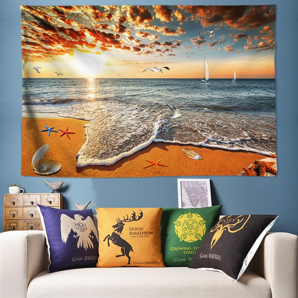Golden Beach Sea Scenery 3D Tapestry Large Wall Psychedelic Hanging tapiz pared tela Boho Home Decor 78*118inch