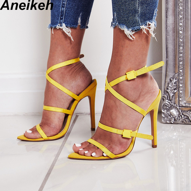 Aneikeh 2018 Shoes Woman Sandals Open Toe Gladiator Thin High Heels Sexy Summer Ladies Red Narrow Band Wedding Shoe Sandalias