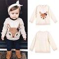 Mais novo Inverno Da Criança Do Bebê Dos Miúdos Meninas Meninos Pullover Raposa Impresso Bowknot Roupa Da Moda Tops Roupas Para A Idade 2-6A