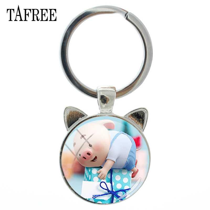 TAFREE Animal Ear Jóias Chaveiro com Cor de Prata de Vidro Cabochão Dos Desenhos Animados Porco Feliz Car Chaveiro Anel para Mulheres Presente Do Miúdo PG102
