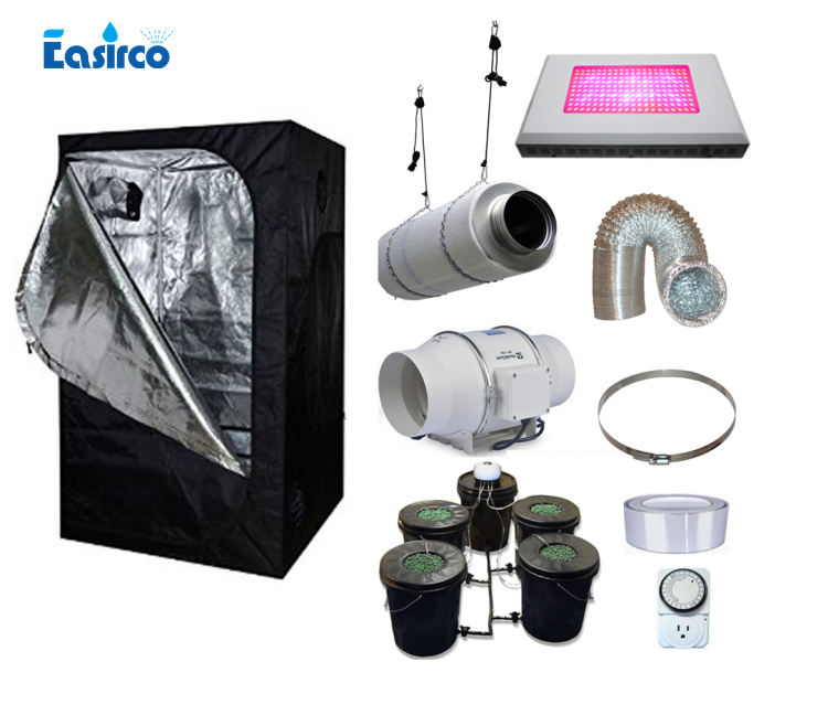 US $690 0 8% OFF|Hydropoinics Complete indoor grow tent kits 150X150X200cm  with DWC bucket, LED grow light and ventilation equipment-in Nursery Trays