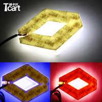 Tcart 1Set 9,4*7,5 cm lámparas de emblema delantero automático 4D logo luz placa adhesiva del coche marcador auto luces LED logo para Koleos para Renault