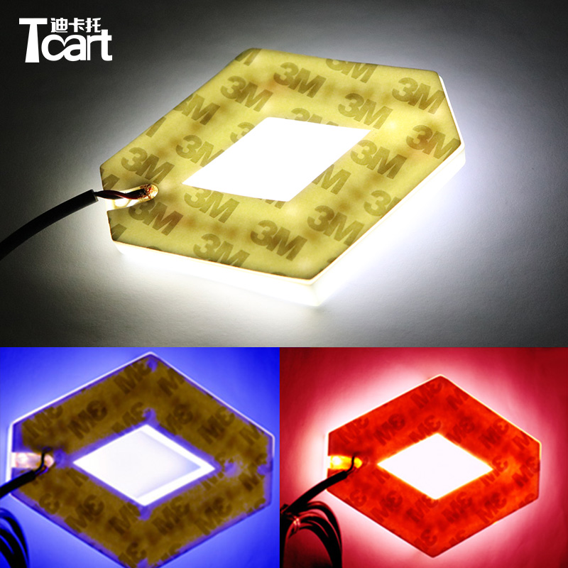 Tcart 1Set 9.4*7.5cm auto front Emblem lamps 4D logo light car badge sticker marker auto led logo lights For Koleos For Renault image