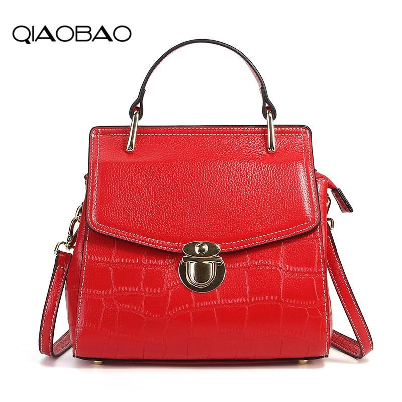 QIAOBAO 2018 Fashion Alligator Shoulder Bag Women Cowhide Handbags Genuine Leather bag Ladies Totes Crossbody Messenger Bag