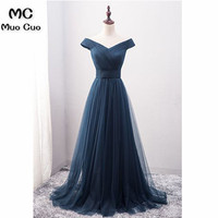 2018 Popular Navy Blue Prom Gowns Long V Neck Short Sleeve Tulle Formal Evening Party Dresses for Women