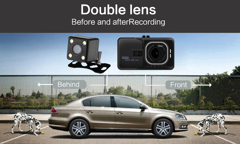 17 Registrar Car Camera DVR 1080P HD 1 Degree Dvr Black Box Car Mirror Camera Dual Camera Lens With Rear View Camera Dashcam 4