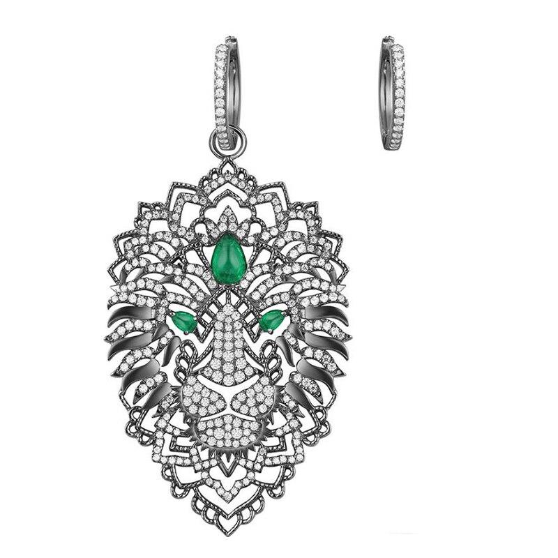 925 Sterling Silver Asymmetric Black Dark Gray Fierce Lion Earrings Green Zirconia Stones Monaco Feroce Collection