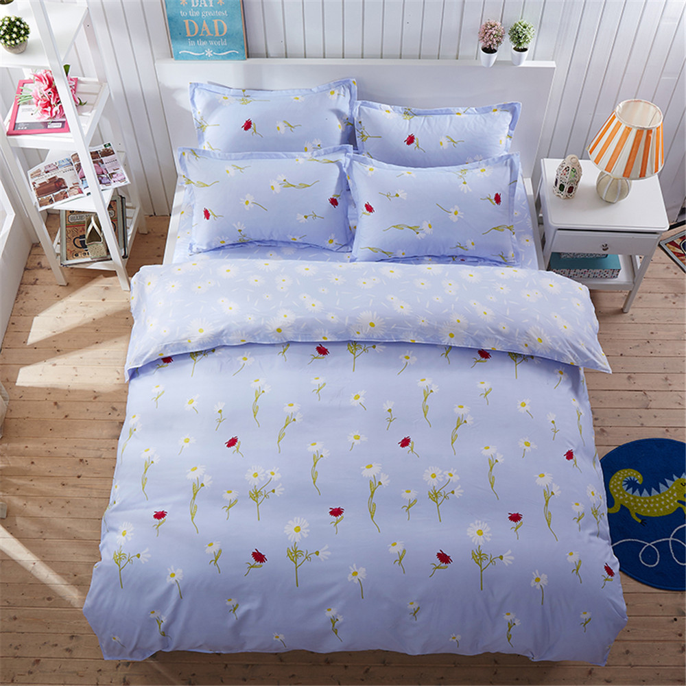 Blue bedroom sets for girls - 100 Polyester Country Style Floral Family Blue Bedding Sets 4pc No Comforer Twin Full Queen Double Size Girls Bed Cover