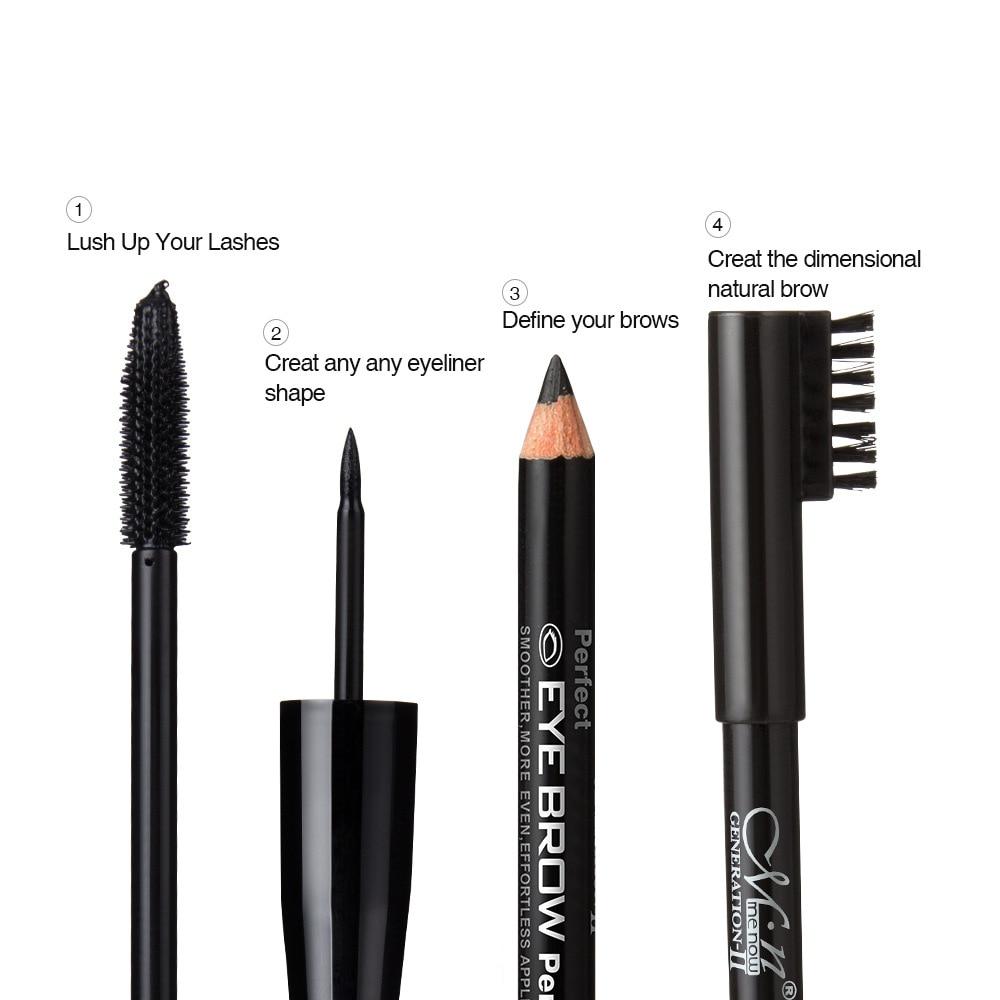 Eye Liner + Mascara +Eyebrow Pencil Makeup Women Mascara Make Up