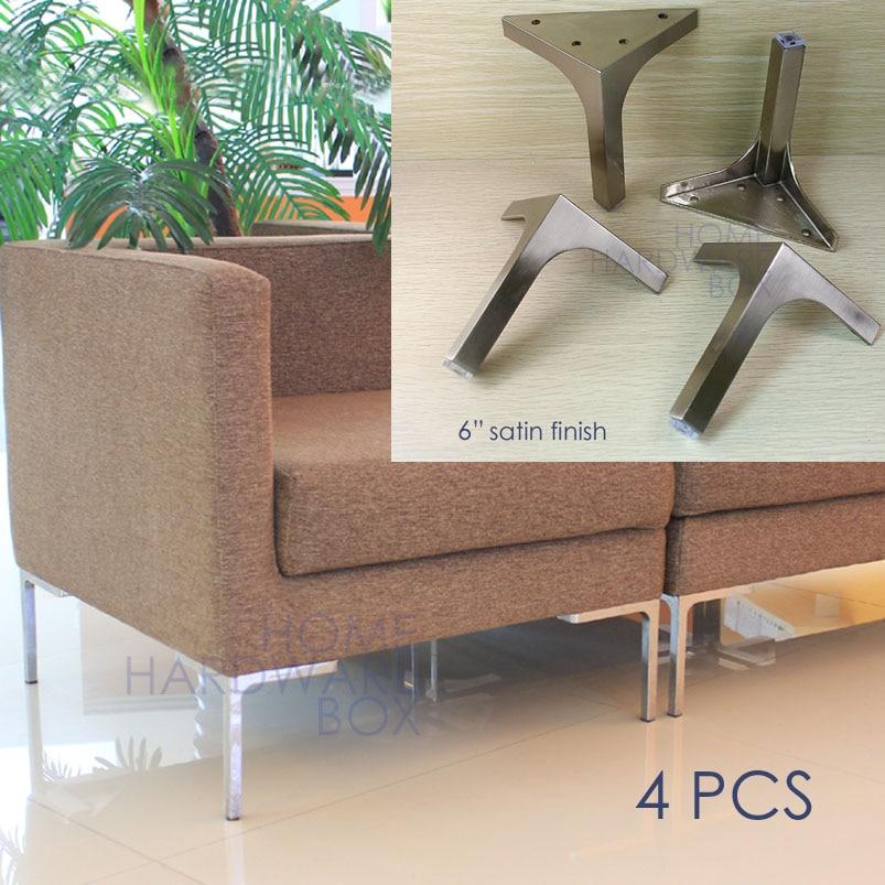 15cm Furniture Metal Table Sofa Leg Cabinet Feet Chrome Stainless Steel  Square 4x