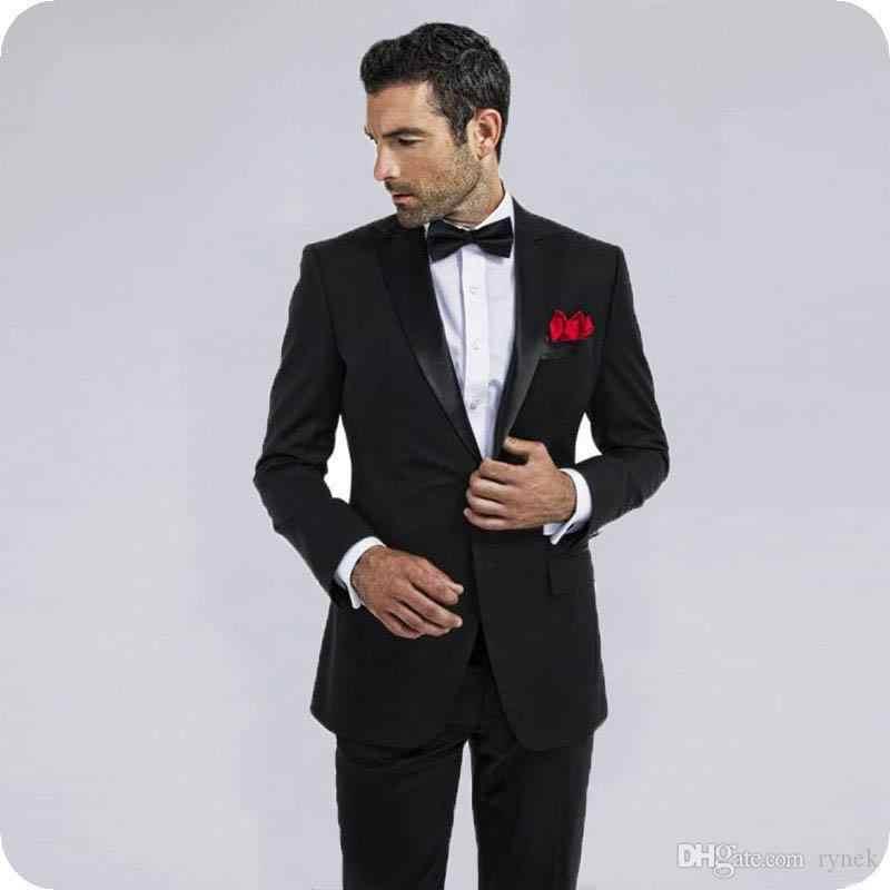 カスタム黒スーツ新郎の結婚式のためタキシード男性スーツの男ブレザーは 2 ピースイブニングパーティーハンサム花婿の付添人を着用