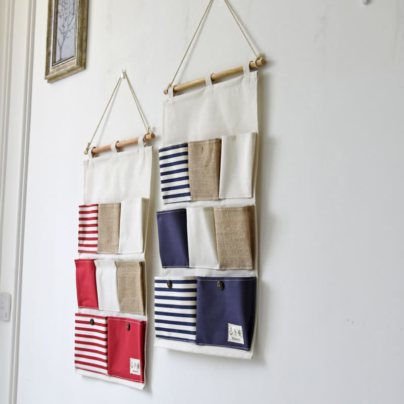 ecofriendly hanging organizer portable toy stifching storage bag cotton and linen office bedroom wall