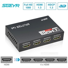 STEYR HDMI Splitter 1x4 4 Port Hub Repeater Amplifier v1.3 1920x1080 1 in 4 out HDMI 1.3 HDCP 1.2 full hd hdmi splitter 1x2 2 port hub repeater amplifier v1 4 3d 1080p 1 in 4 out