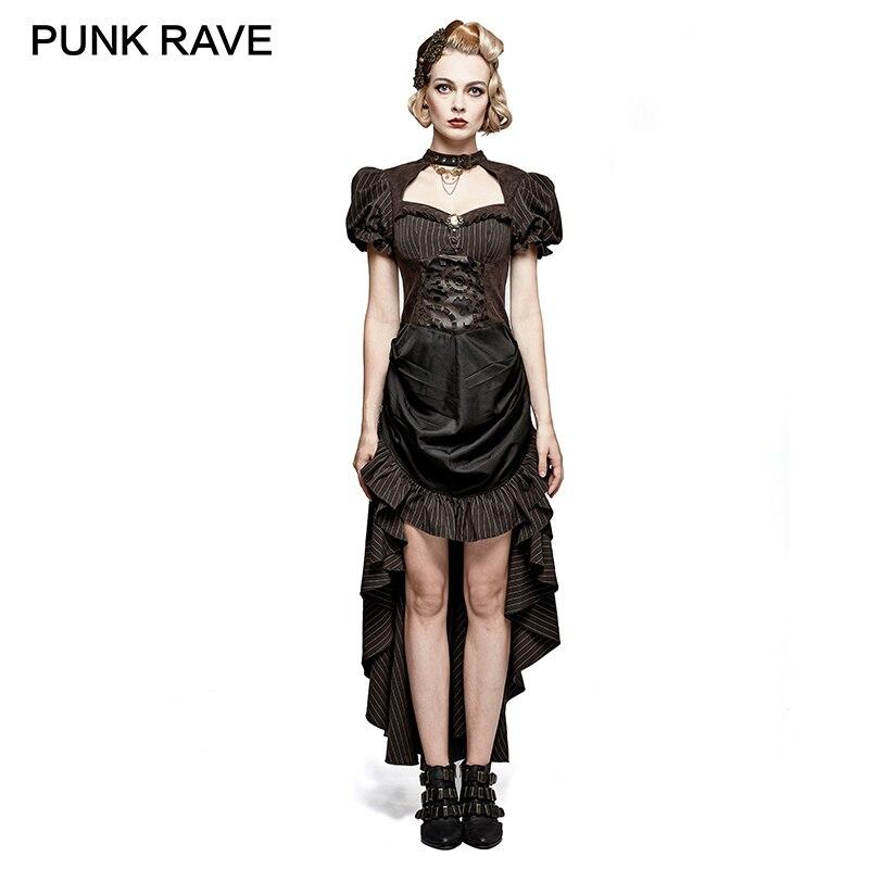 PUNK RAVE Steampunk British Style Coffee Puff Sleeve High Low Dress Women  Elegant Black Lace Patchwork Women Retro Woven 5c5b1df6af