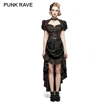 PUNK RAVE Steampunk British Style Coffee Puff Sleeve High Low Dress Women Elegant Black Lace Patchwork Women Retro Woven