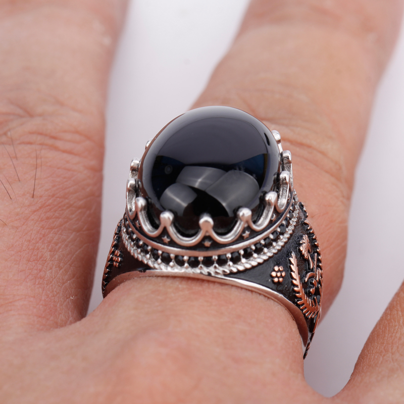 Image 5 - 925 Sterling Silver Men Ring with Oval Black Natural Stone Rings 