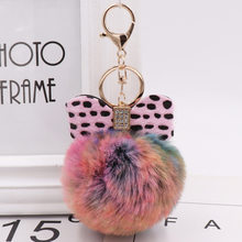 Fashion Crystal Bow Key Chains Jewelry Leopard Pompom Keychain Fluffy Faux Rabbit Fur Ball Women Handbag Pendants Car Key Ring(China)
