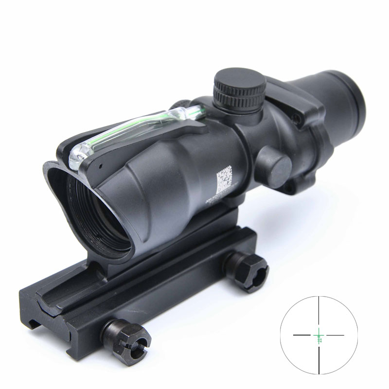 Tactical Trijicon ACOG 4X32 Optical Rifle Scope Real Fiber Optics Green Illuminated Crosshair Hunting Riflescopes tactical 4x32 rifle scope red dot green optics fiber hunting shooting m9430