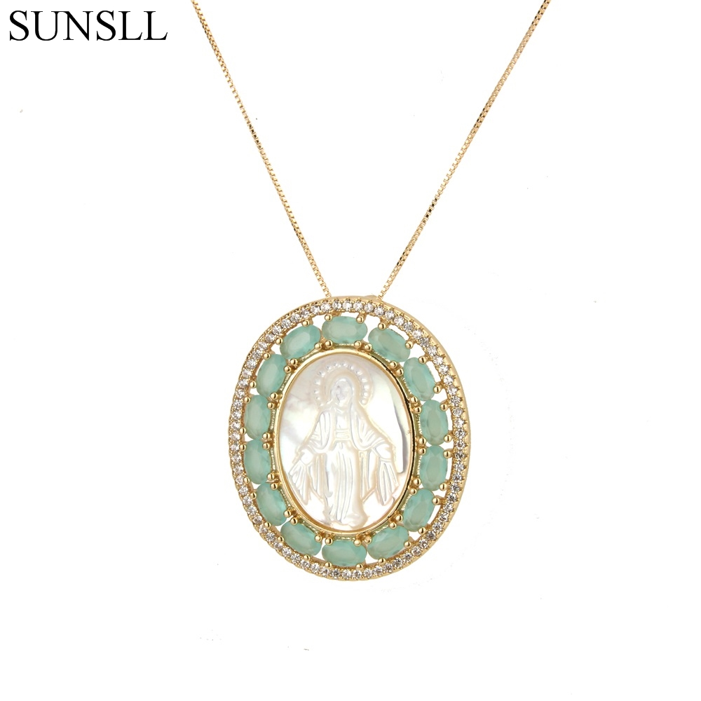 SUNSLL Gold Color Copper 2 Color Cubic Zirconia And Shell Oval Pendant Necklaces Women's Fashion Jewelry CZ Colar Feminina