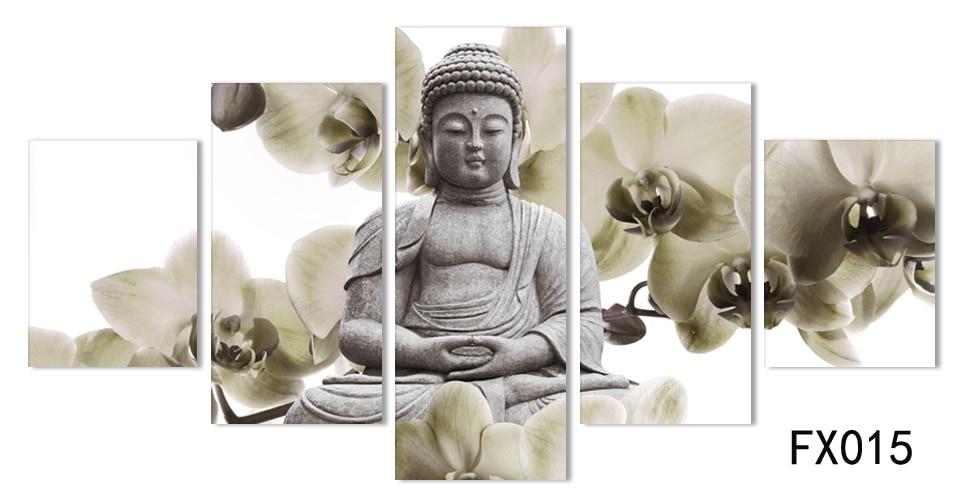 UnFramed 5 Тақта Үлкен орхидея Будда - Үйдің декоры - фото 4