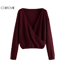 COLROVIE Casual Wrap Knit V Neck Sweater