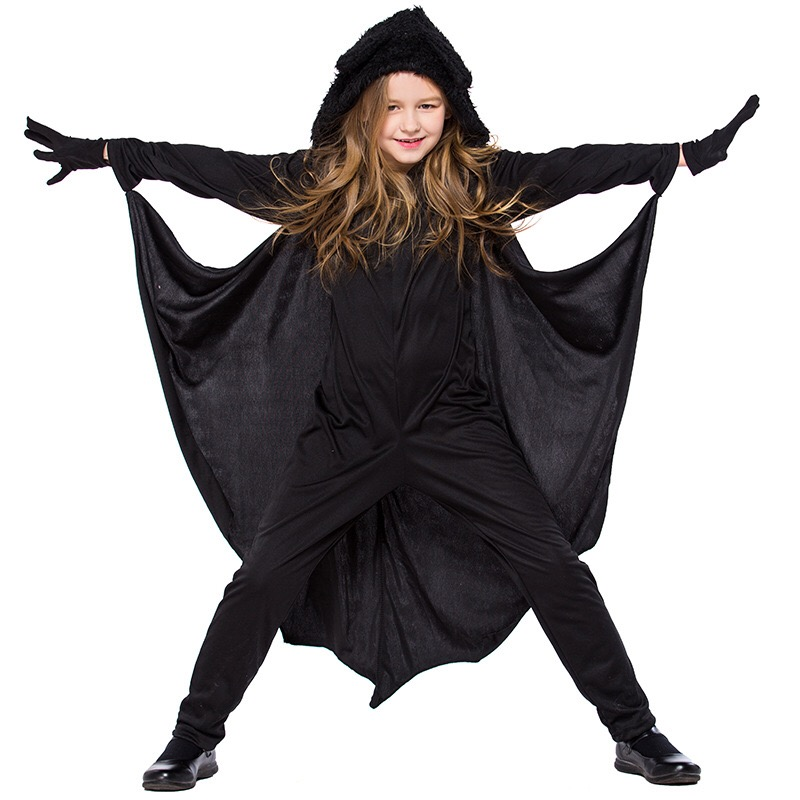 Baby Kids Boys And Girls Halloween Black Bat Catsuit Hooded Costume Funny Gift Cosplay Romper Jumpsuit Outfit For Children 4-10T