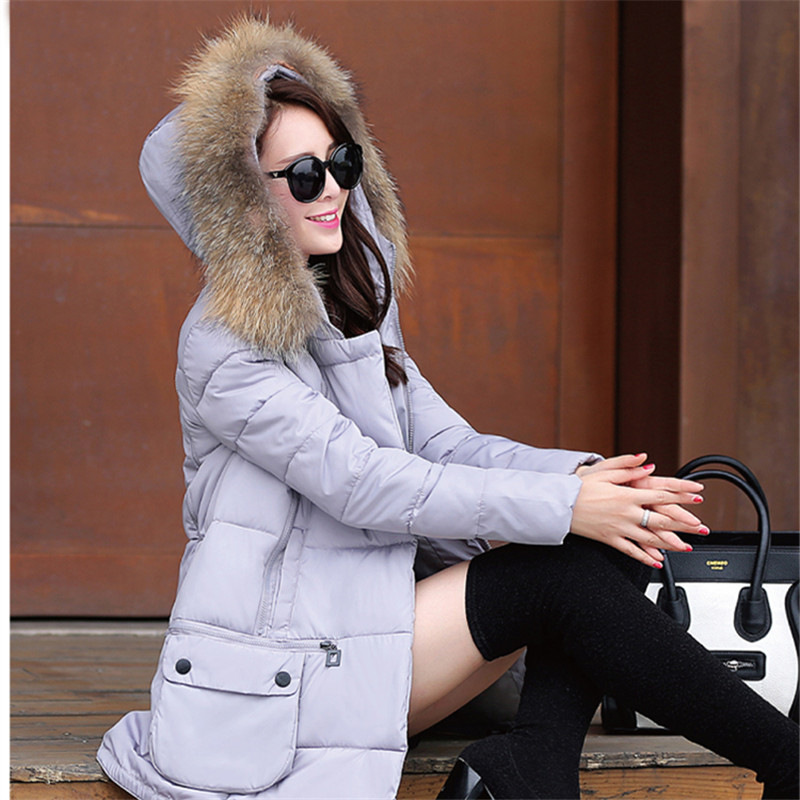 Winter Jackets Women 2016 New Real Large Raccoon Fur Collar full Sleeve Button Fashion Feathers Warm Thick Women Casual Coat fur and feathers