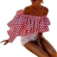 2019 Summer Women Boho Beach Casual Tops Elegant Polka Dot Ruffles Shirt Strapless Party Sexy Blouses