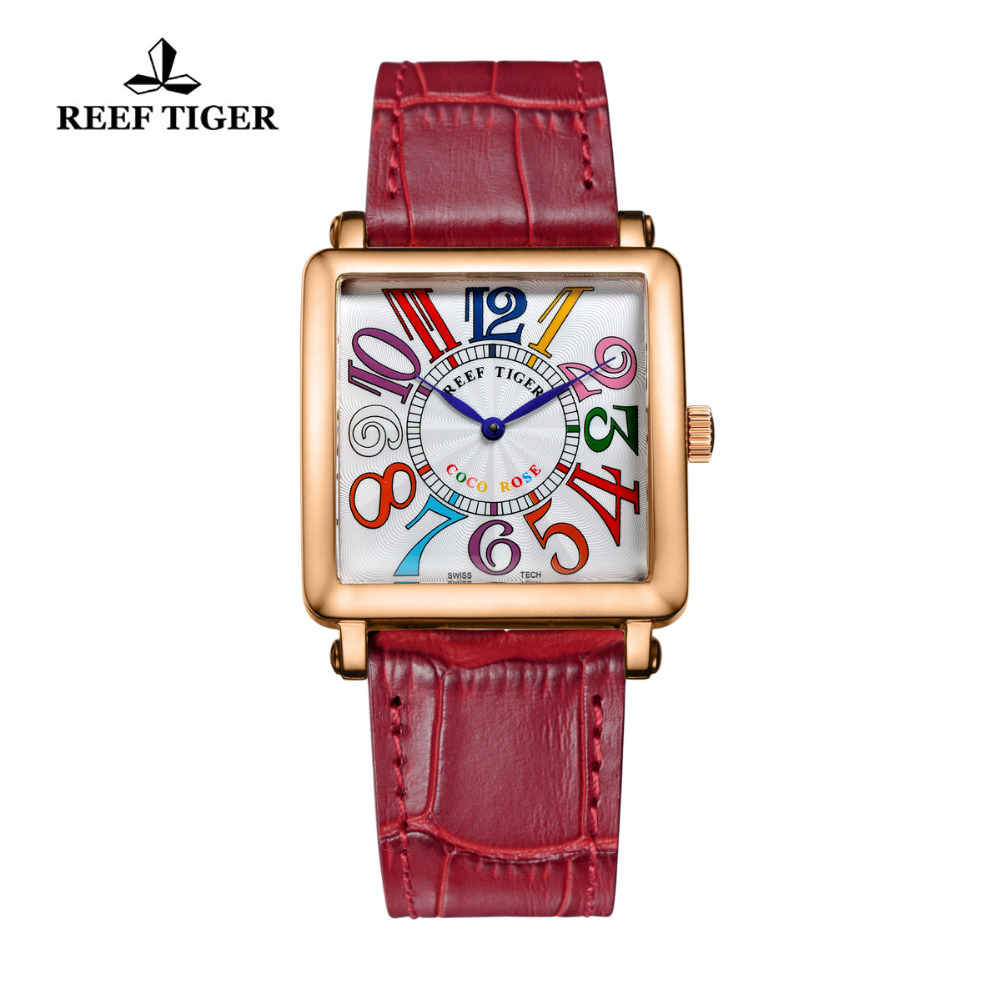 Reef Tiger/RT Watches High Quality Women Quartz aWatch Fashion Rose Gold Leather Strap Colorful Roman Numeral for Women RGA173 2x yongnuo yn600ex rt yn e3 rt master flash speedlite for canon rt radio trigger system st e3 rt 600ex rt 5d3 7d 6d 70d 60d 5d