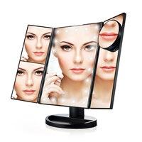 10X Büyüteç LED Dokunmatik Ekran Seyahat Vanity Ayna 3 Katlanır Masa 21 LED Işıkları Profesyonel Kozmetik Makyaj Aynası