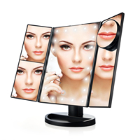 10X Magnifier LED Touch Screen Travel Vanity Mirror 3 Folding Table 21 LED Lights Professional Cosmetic