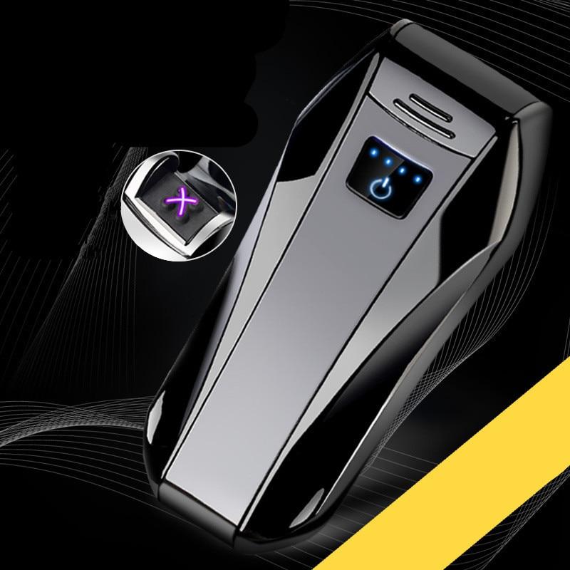 2018 fingerprint touch Electronic Cigarette lighter Plasma Double Pulsed Arc Lighter USB Flameless power display lighters