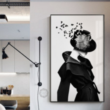 Mystery Sexy Lady With Red Lips Canvas Painting Artistic Modern Girl Poster Print For Living Room Bedroom Wall Art Picture Decor