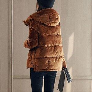 Image 4 - קטיפה באיכות גבוהה מזדמן קצר ברדס כותנה מרופדת עבה חורף מעיל Parka Loose נשים Manteau TT3618